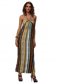 Carefree Halter Strapless Floral Imprint Maxi Dress