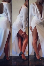 Sexy Plunge V Neck Long Sleeves Hollow Out Back Side Split Maxi Dress White