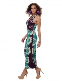 Alluring V-Neckline Print Sleeveless Maxi Dress For Women