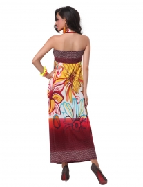 Charming Design Halter Neck Tiny Floral Print Bohemian Maxi Dress For Women