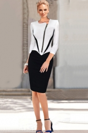 Office Lady Style Hot Sale V Neck Zipper Front Fitted Bodycon Midi Dress White Black