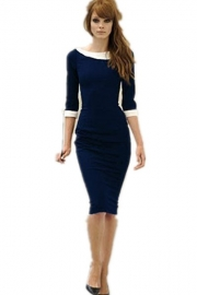 Navy Blue Slimming Midi Dress with White Peter Pan Collar