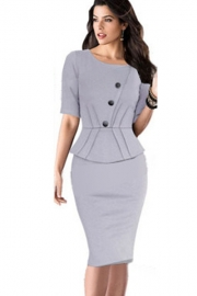 Gray New Style Half-sleeve Faux Twinset Midi Dress with Buttons