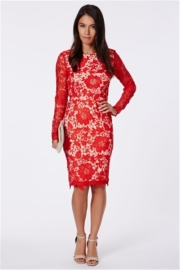 Lace winter women sexy midi club dress red