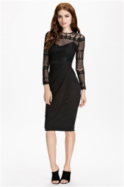 Black Lace Splice Pleated Women Midi Dress