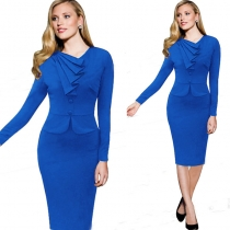 Hot sell Faux Twinset Design Long Sleeve Midi Dress Blue
