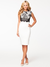 Sexy White Lace Trim Midi Dress