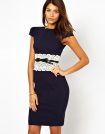 Ladies Midi Dress with Lace Peplum Dark blue