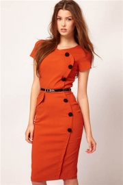Orange Fashion Slimming Midi Dress with Buttons