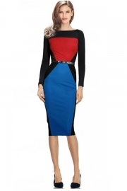 Red Blue Patchwork Black Long-sleeve Midi Dress with Belt