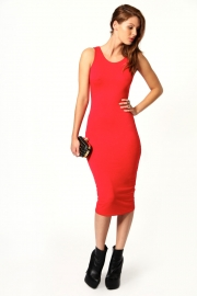 Charlie Cut-out Back Detail Midi Dress Red