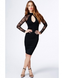 High Neck Long Sleeve Women Fashion Midi Dress