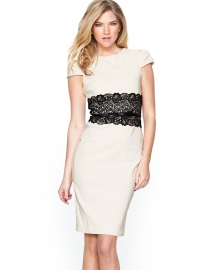 Ladies Midi Dress with Lace Peplum Dark White