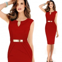 Mini V Red Bodycon Midi Dress with Metal Button