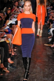 Orange and Black Patchwork Slimming Midi Dress With Zipper