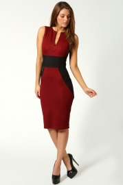 Wholesale Long Sleeve Midi Dress Red