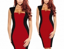 Women's New Color Block Fitted Pencil Shift Business Work Dress Red