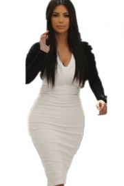 Sexy Colors Collision V Neck Long-sleeve Midi Dress White and Black