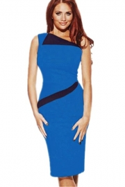 Blue Women's Sleeveless Splicing Midi Dress with Black Peter Pan Collar