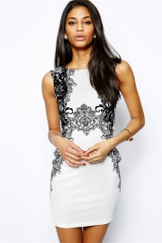 Elegant Black Floral Mesh Print Mini Dress White