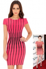 Fashion elegant striped lady dress red