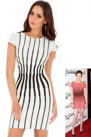 Fashion elegant striped lady dress white