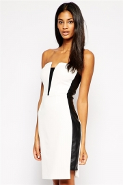 Sexy Ladies Strapless Black Side Panel Mini Dress White