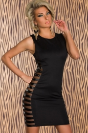 Club Tank Bodycon Dress with Side Striped Mesh Black