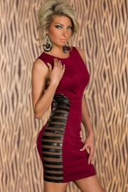 Club Tank Bodycon Dress with Side Striped Mesh Red