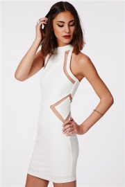 O Neck Sleeveless Cut-out Accent Mini Dress White