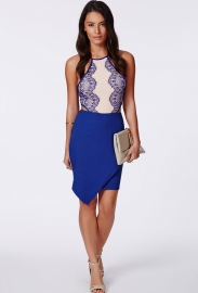 Ladies Fashion Mini Lace Dress Blue