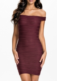 Purplish red  Unique Streaks Off-shoulder Party Dress