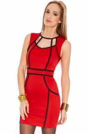 Red Trendy Celeb Red Curve-enhancing Mini Dress