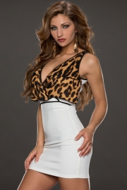 Leopard Top Bodycon Dress with Flouncing White