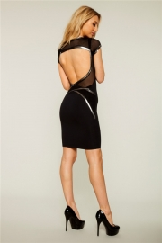 Sexy O Neck Cut Out Back with Mesh and Black Stripes Mini Dress Black