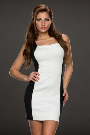 White and Black Joining Bandage dress