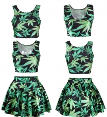 Sexy two pieces short dress with leaves printing
