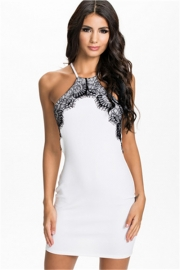 White Lace Trim Fashion Dress