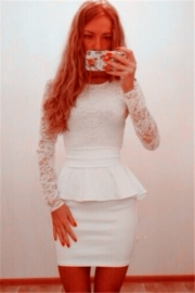 White Floral Lace Long-sleeve Top with Linning Peplum Dress White