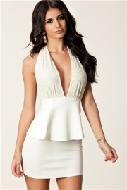 White Deep V Neck Sexy Dress