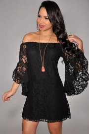Cream Lace Off-The-Shoulder Mini Dress Black