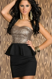 Graceful Gleam Sequins Strapless Dress Black