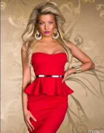 New Arrival Sexy Belted Peplum Dress In Red