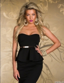 New Arrival Sexy Belted Peplum Dress In Black