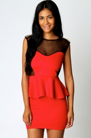 Red Gold Studs Peplum Dress