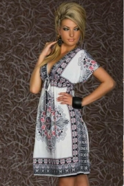 Fashion Retro 1960s 1970s Vintage Paisley Print V Neck Hippie Bohemian Summer Dress White
