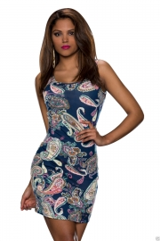 Get You Noticed Bodycon Print Dress Blue
