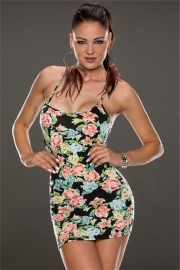 Graceful Spaghetti Butterfly Strap Floral Print Bodycon Dress