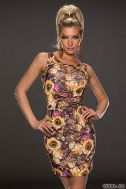 Brown Pink Rose Sheath Dress