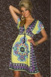 Fashion Retro 1960s 1970s Vintage Paisley Print V Neck Hippie Bohemian Summer Dress Yellow